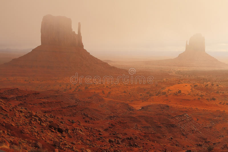 Red Navajo Sandstone of Monument Valley stock photography