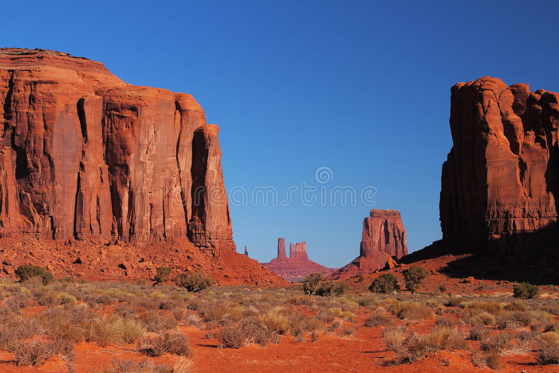 Red Navajo Sandstone of Monument Valley royalty free stock photos