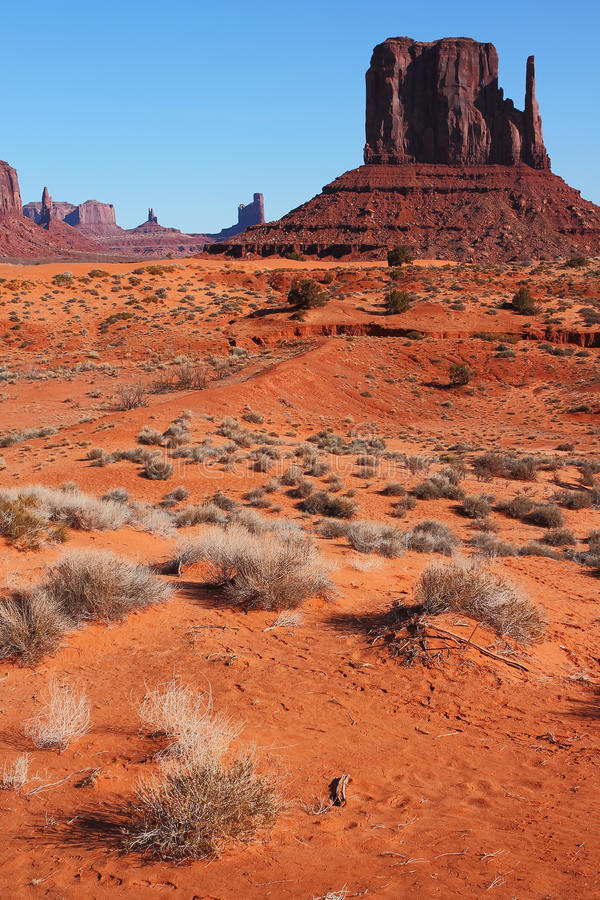 Red Navajo Sandstone of Monument Valley royalty free stock image