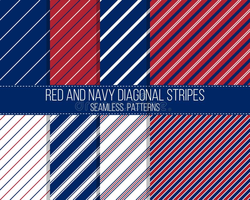 Red and navy diagonal stripes, seamless patterns stock image