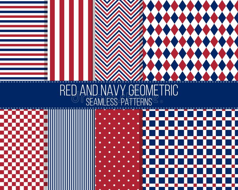 Red and navy geometric, seamless patterns stock images
