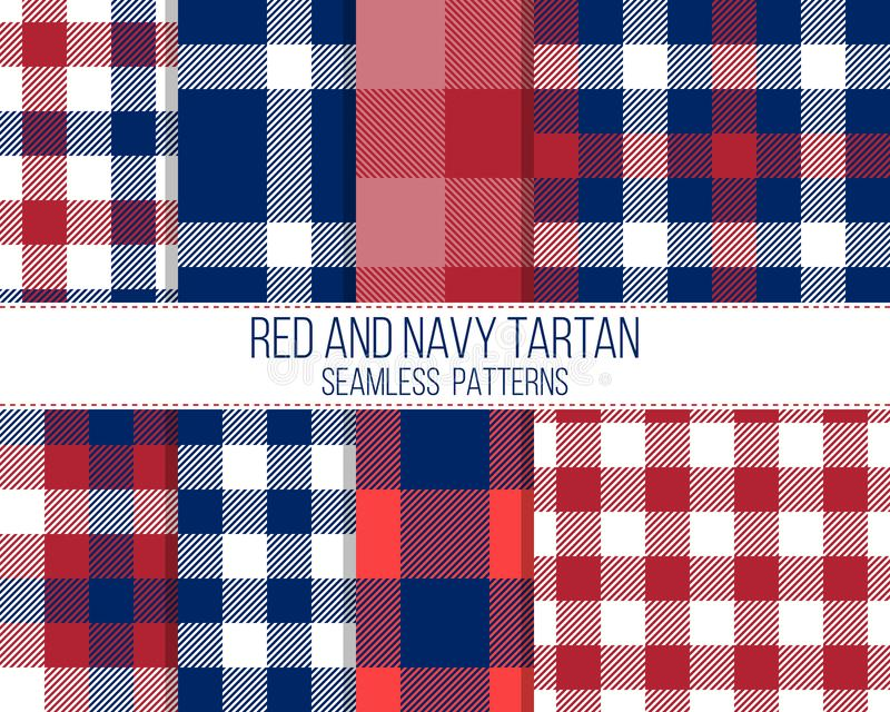 Red and navy tartan, seamless patterns royalty free stock image