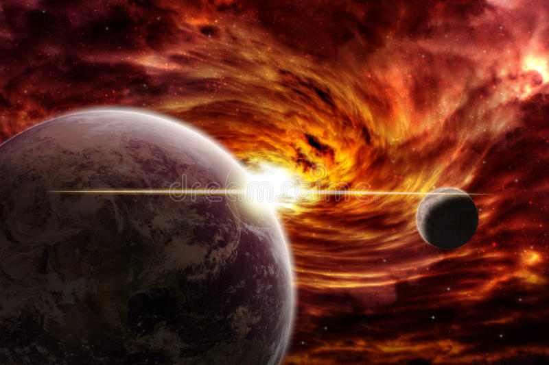 Red nebula over the planet earth stock illustration