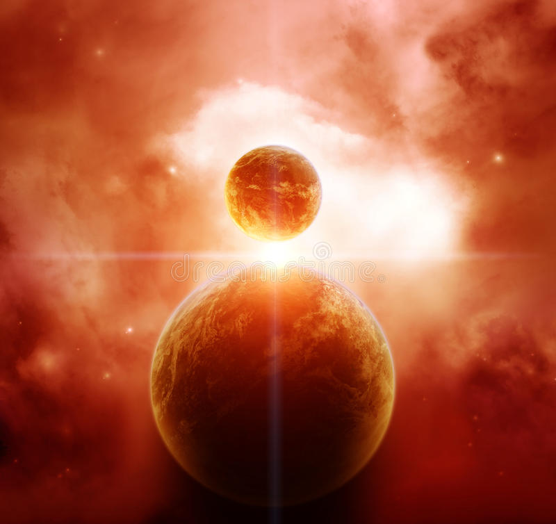 Red Nebula with Planets vector illustration