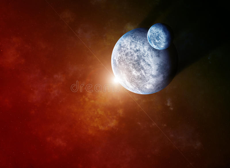 Red Nebula with Planets and Rising Star stock illustration