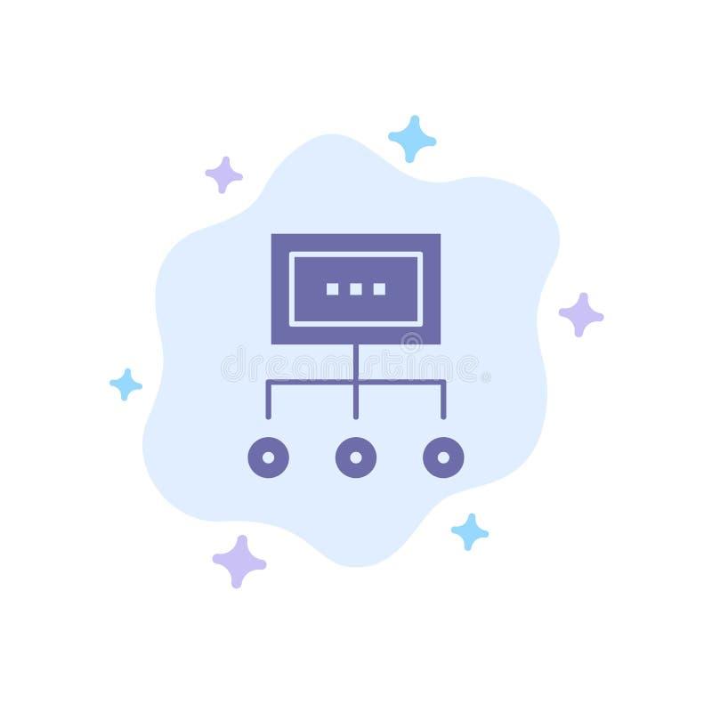 Red, negocio, carta, gráfico, gestión, organización, plan, icono azul del proceso en fondo abstracto de la nube stock de ilustración