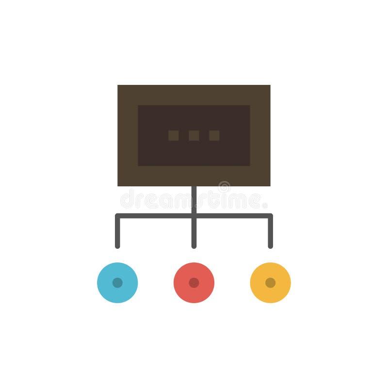 Red, negocio, carta, gráfico, gestión, organización, plan, icono plano de proceso del color Plantilla de la bandera del icono del ilustración del vector