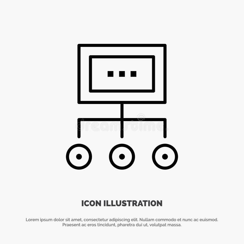Red, negocio, carta, gráfico, gestión, organización, plan, línea de proceso vector del icono stock de ilustración