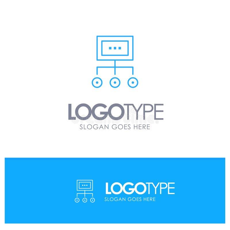 Red, negocio, carta, gráfico, gestión, organización, plan, logotipo azul del esquema del proceso con el lugar para el tagline stock de ilustración