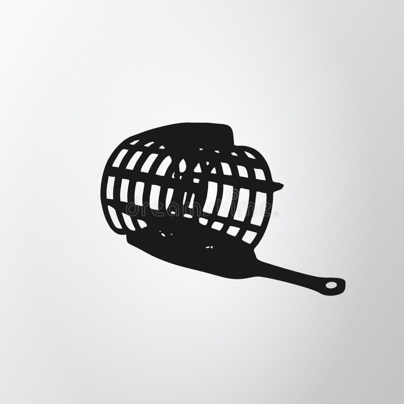 Red negra del alimentador aislada en fondo gris Icono de la pesca Jaula del alambre Illustraion del vector, EPS10 ilustración del vector