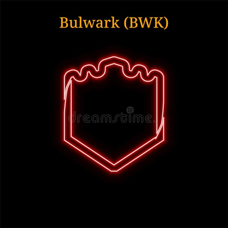 Red neon Bulwark (BWK) cryptocurrency symbol royalty free illustration