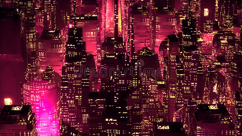 Red neon city skyscrapers modern technology concept vector illustration