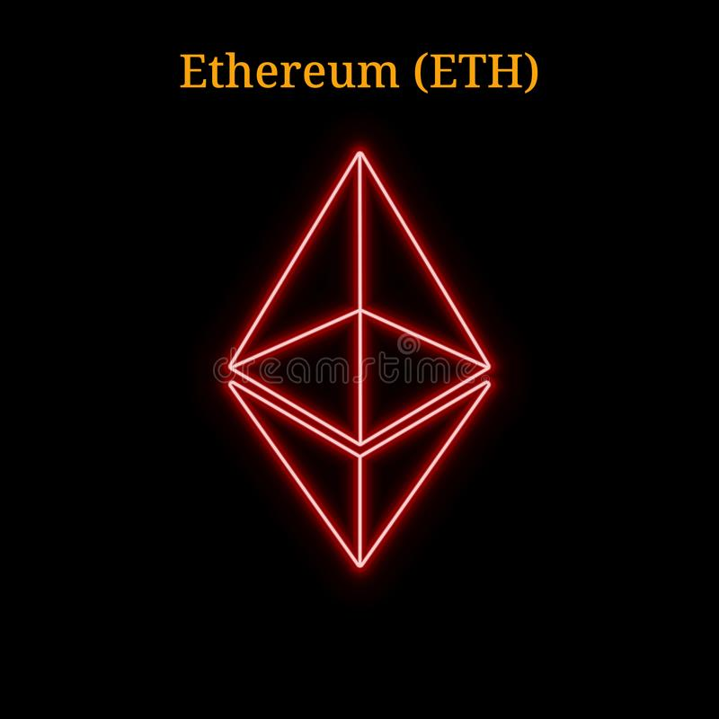 Red neon Ethereum (ETH) cryptocurrency symbol royalty free illustration