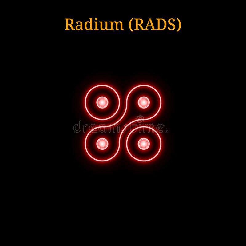 Red neon Radium RADS cryptocurrency symbol vector illustration