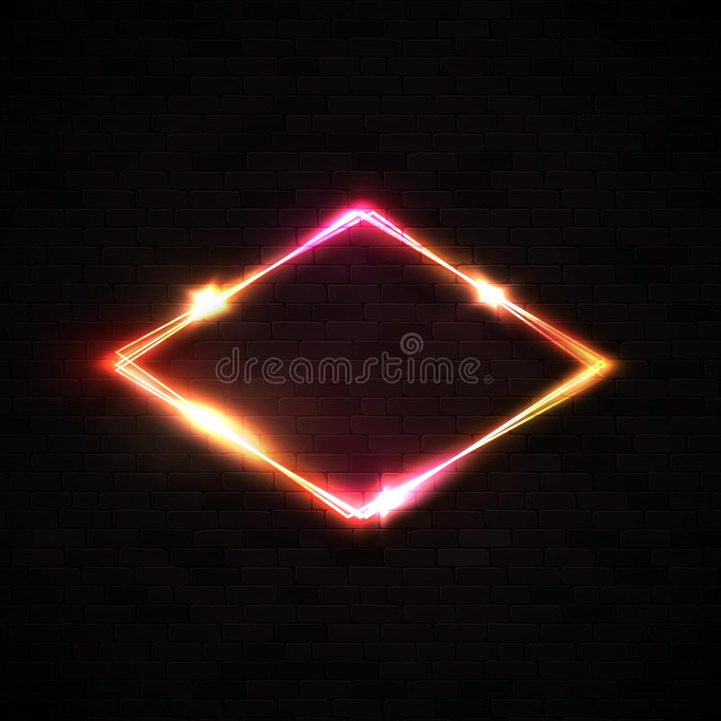 Red neon rhombus background on black brick wall. stock illustration