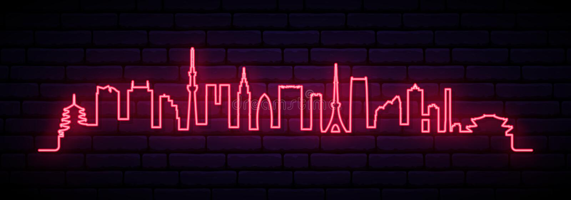 Red neon skyline of Tokyo city. vector illustration