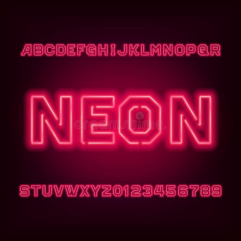 Red neon tube alphabet font. Type letters and numbers. Red neon tube alphabet font. Type letters and numbers on a dark background. Vector typeset for your stock illustration