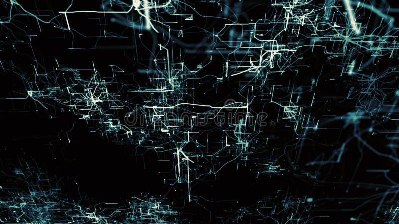 Red neuronal artificial Nodos electrónicos azules en ciberespacio electrónico stock de ilustración