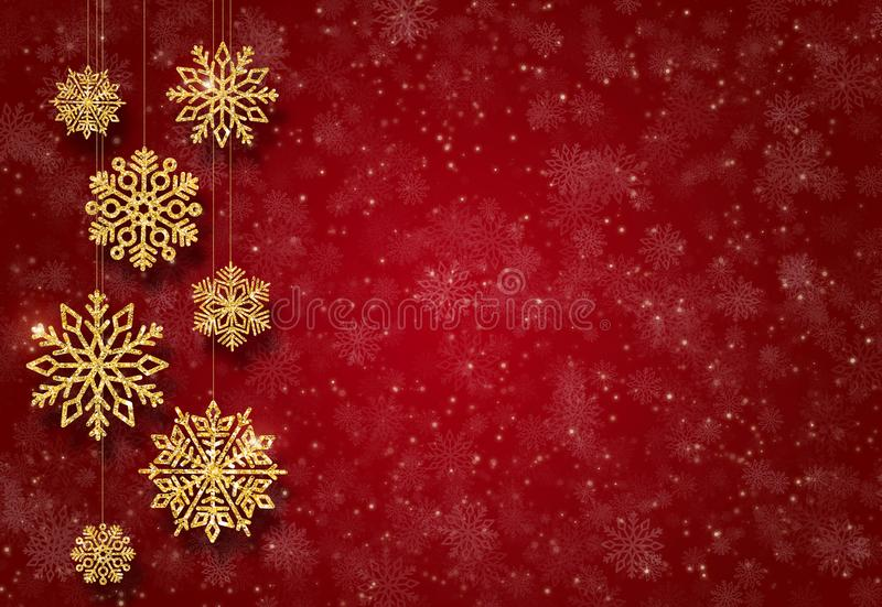 Red New Year background with gold Christmas-tree toys. Golden snowflakes. stock images