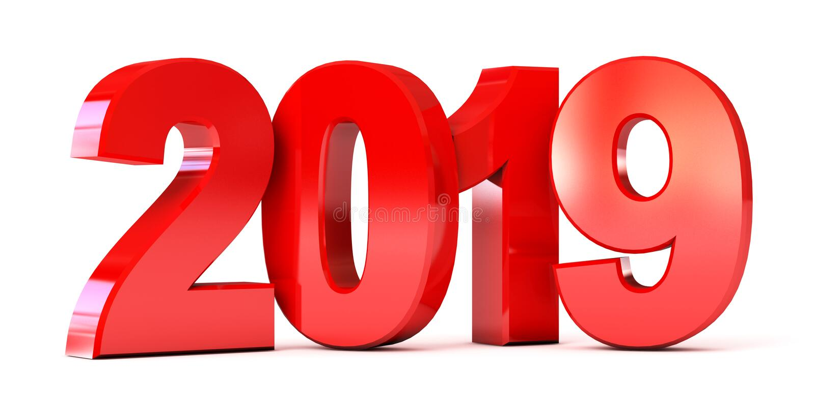 Red new year 2019. Isolated on white background. 3d render. Red new year 2019. Conceptual illustration. Isolated on white background. 3d render royalty free illustration