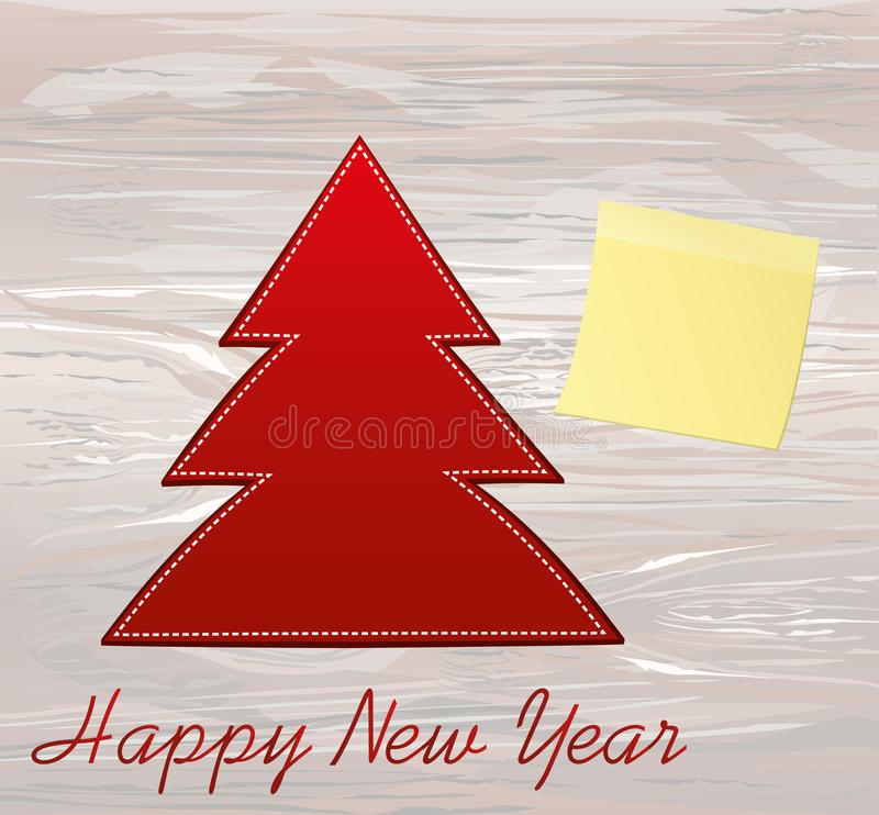 Red new-year tree of paper. Christmas greeting card. Yellow sheet of paper for notes. Sticker. Vector on wooden background. Empty. Space for text or advertising royalty free illustration