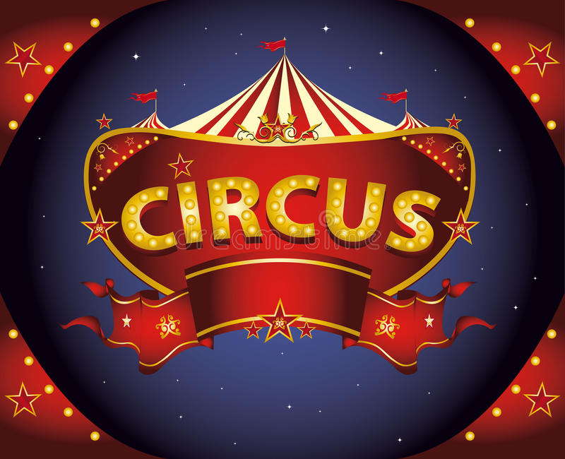 Red night circus sign royalty free illustration