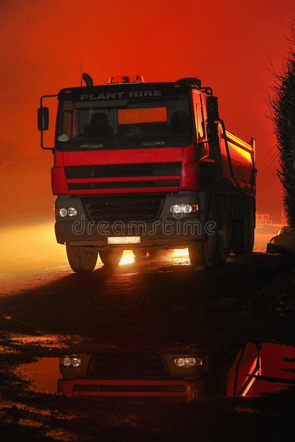 Red night trucking stock images