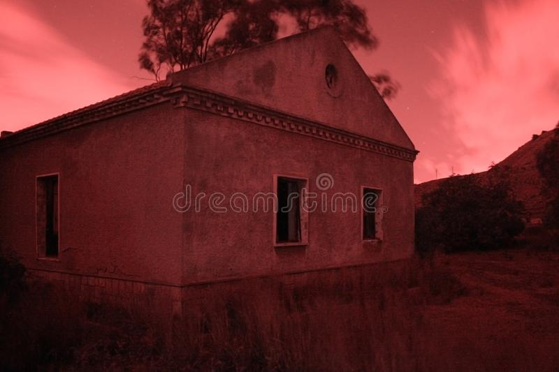 RED NIGHTS. In absolute darkness stock image