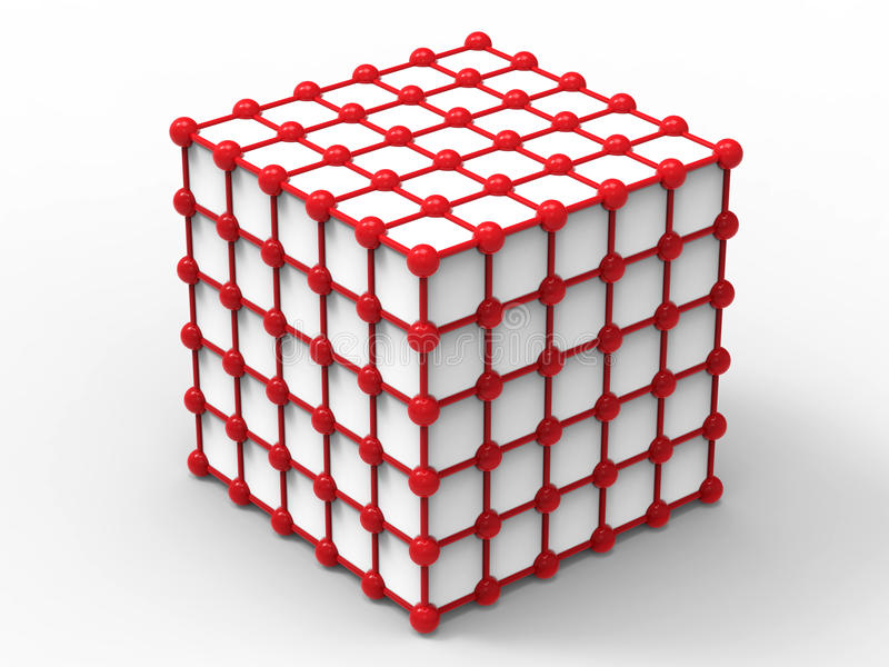 Red nodes - cube network structure. 3D render illustration of red nodes cube network structure. The composition is isolated on a white background with shadows vector illustration
