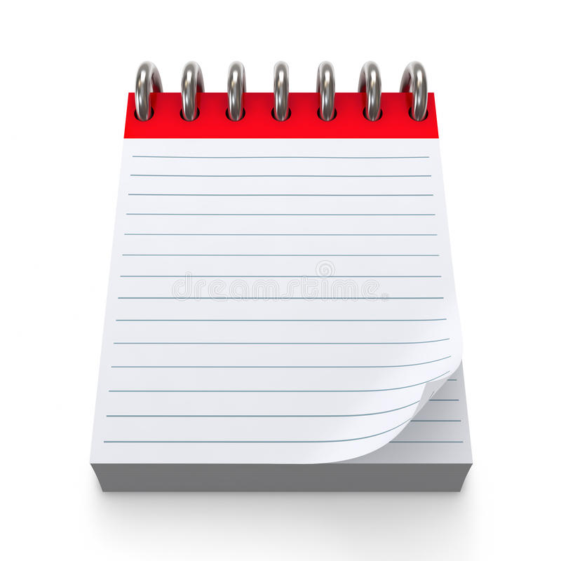 Red Notepad. High quality 3d illustration of a notepad stock illustration