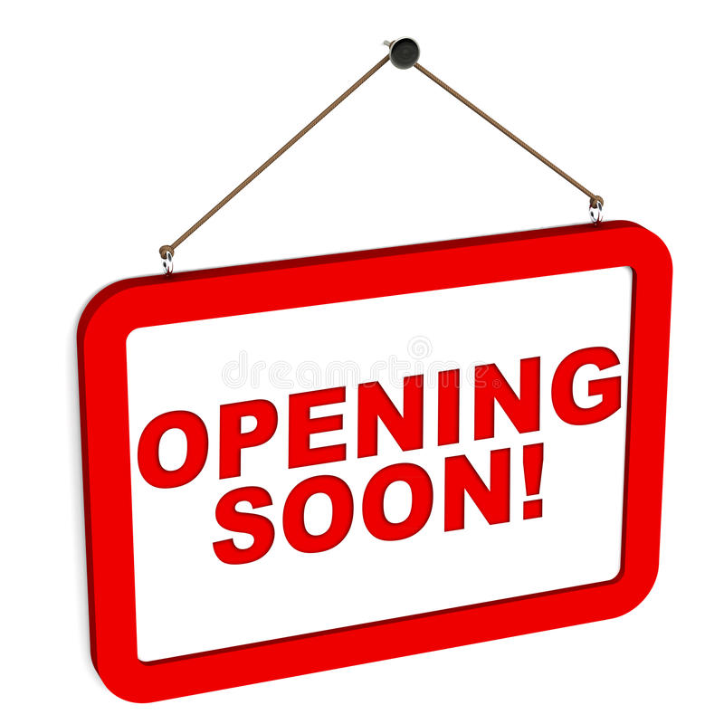 Opening soon notice board. A red notice board with opening soon text on white background stock illustration