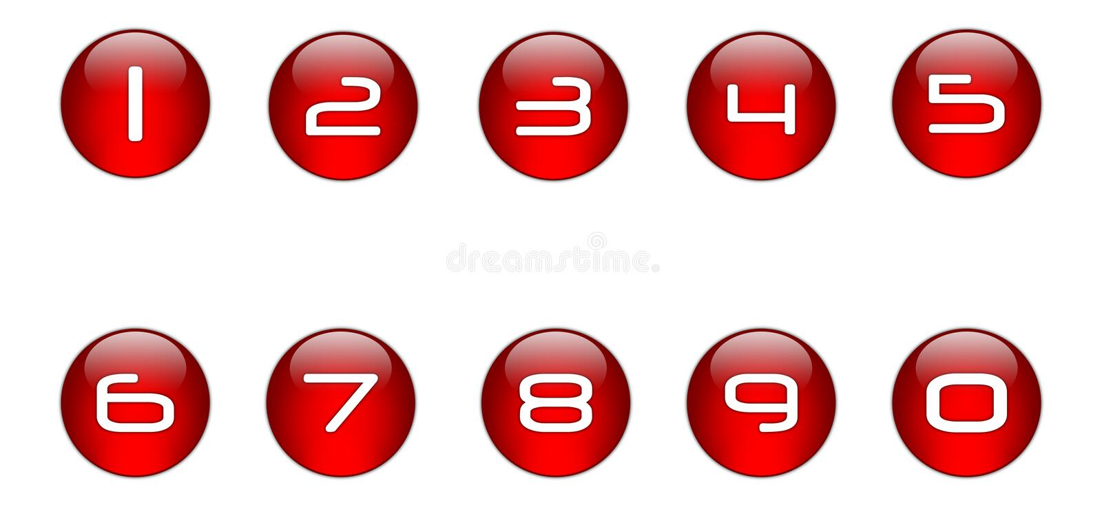 Red Numbers Icons Set [01] Royalty Free Stock Image