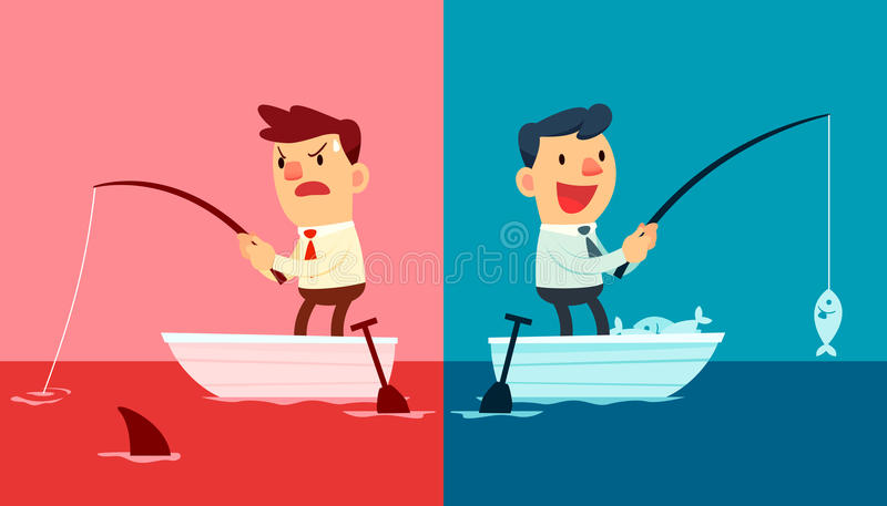 Red ocean vs blue ocean. Illustration of two businessmen. One fishing in red ocean and the other in blue ocean royalty free illustration
