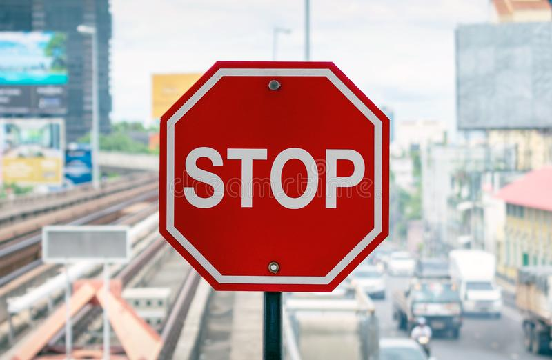 Red Octagonal Stop Sign on the Skytrain Platform.  royalty free stock photo