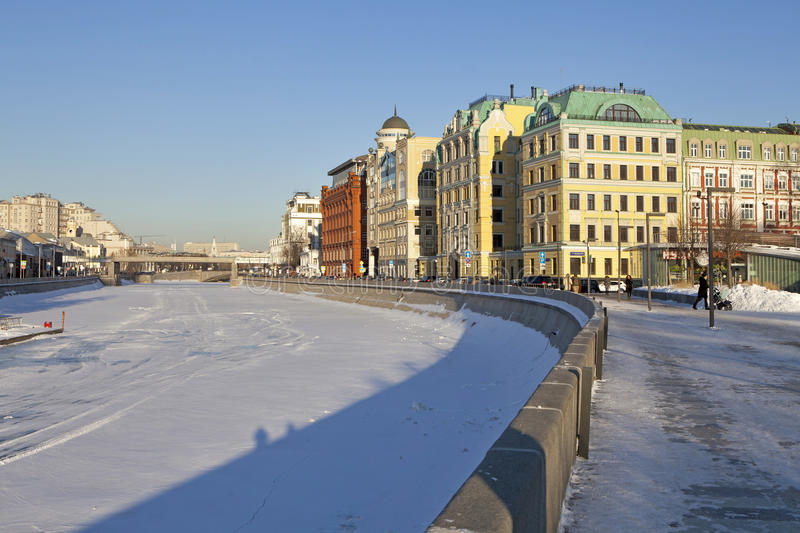 The Red October Chocolate factory and Strelka Institute on the Moskva River, Moscow, Russia stock photography