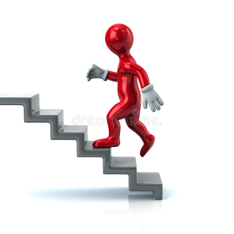 Free Red Of Man On Stairs Going Up Royalty Free Stock Images - 62207429