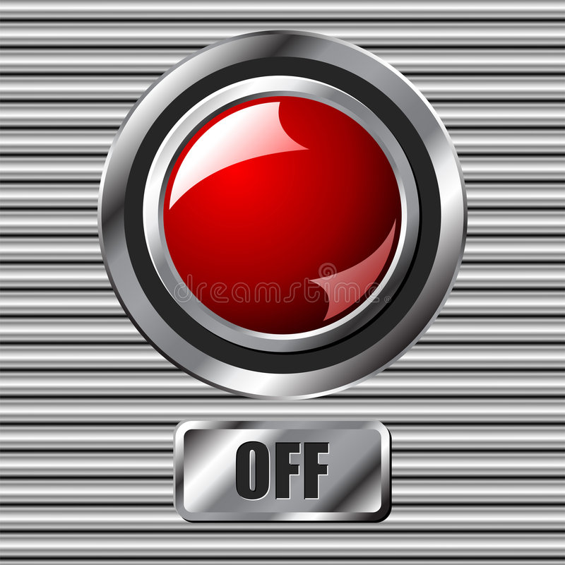 Red off button. Red off interface round button over metallic surface stock illustration