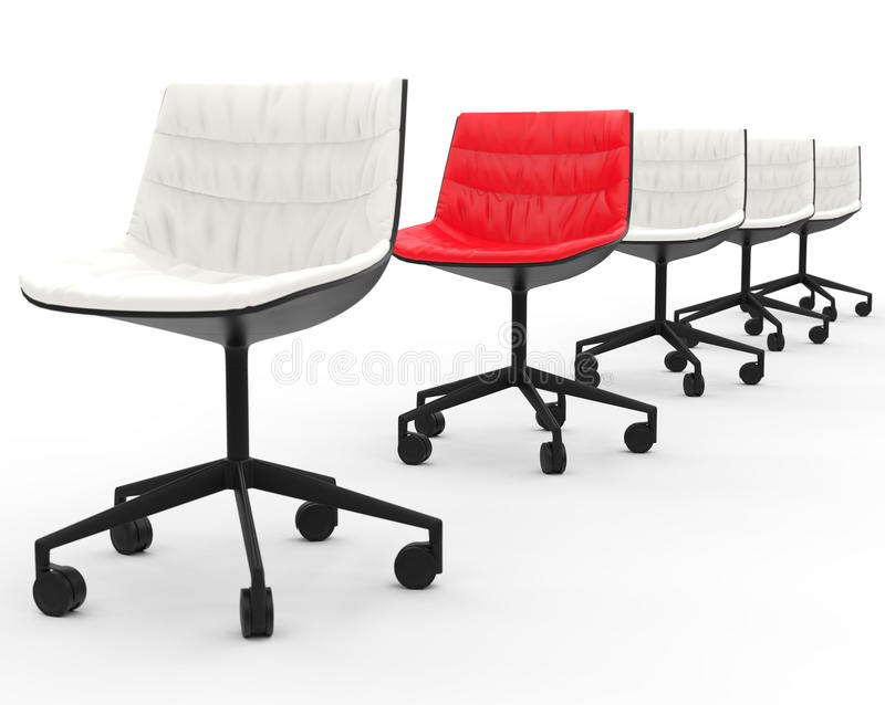 Red Office Chair In Row Of White Office Chairs Stock Image Image