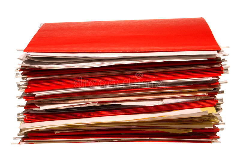 Download Red Office File Folders Stack With Papers Isolated Royalty Free Stock Images - Image: 4528209