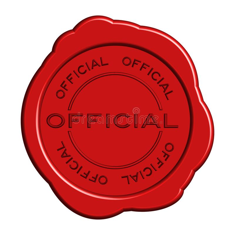 Red official word round wax seal stamp. On white background stock illustration
