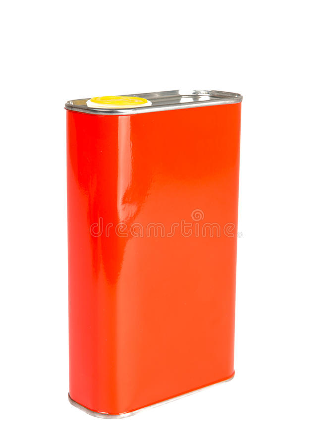 Red Oil can isolated on white stock photo