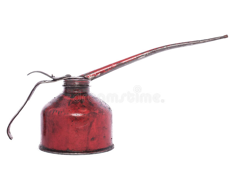 Red oiler used. Antique red oil can and used stock images