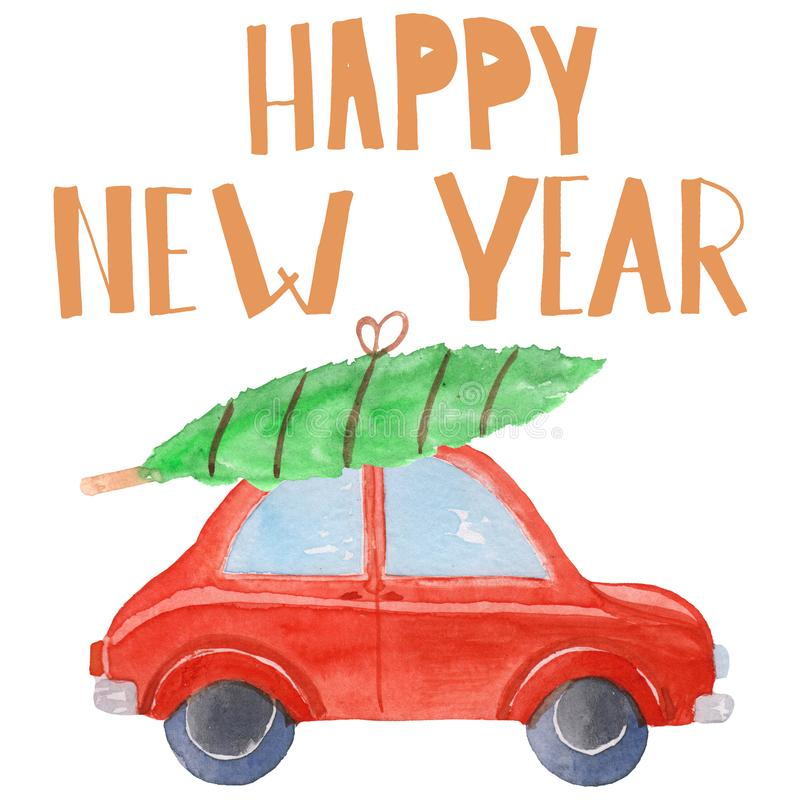 Red old car with christmas tree and happy new year lettering. watercolor raster illustration for cards, prints and posters.  vector illustration