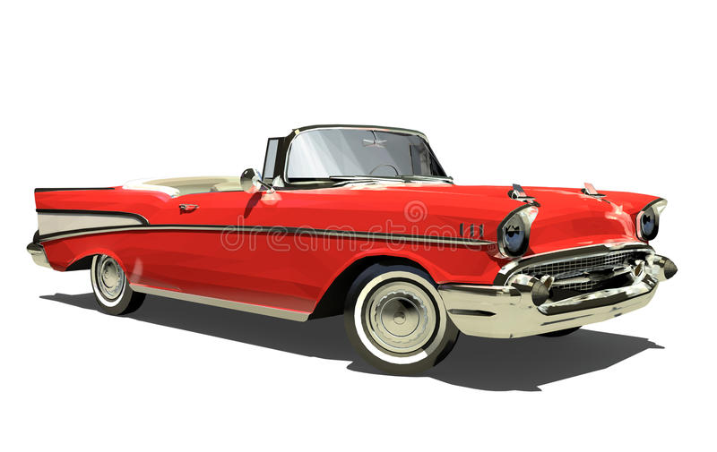 Red old car with an open top. Convertible. Isolated on a white background. Render. 3d stock illustration