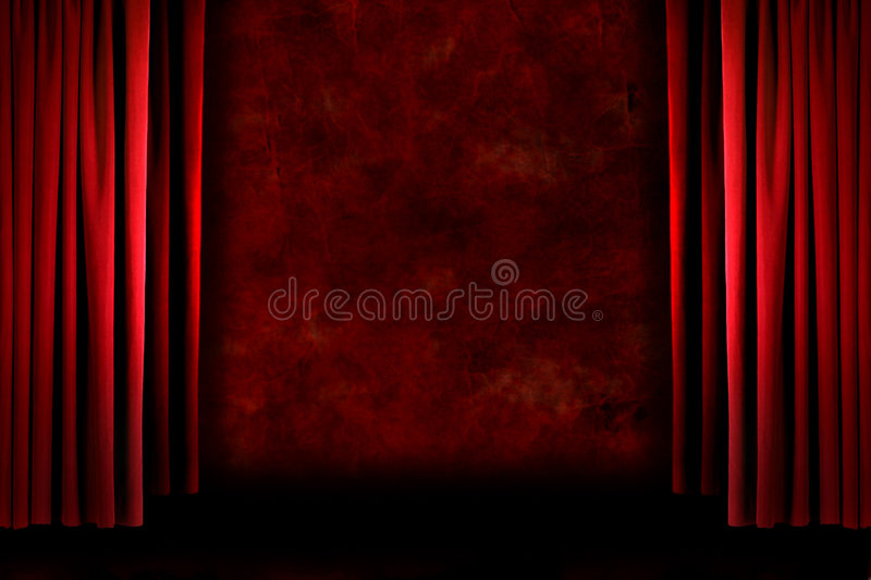 Red old fashioned grungy stage drapes stock photo