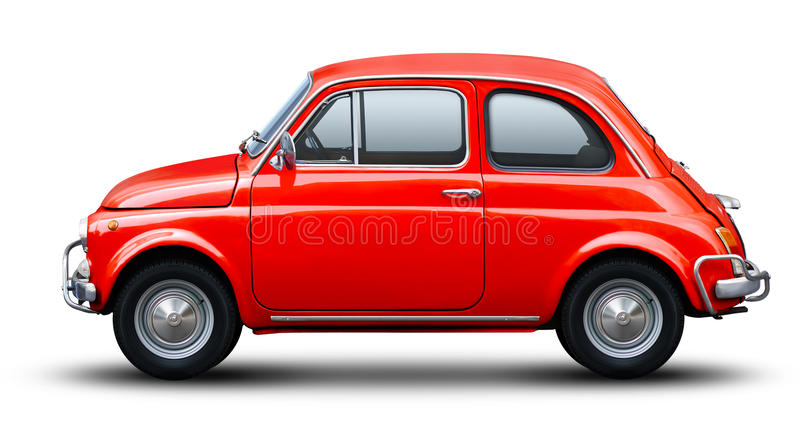 Red old fiat 500. Red old fiat 500 on white background side view stock image