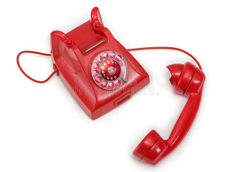 Red Old Phone with Rotary Dial royalty free stock photography