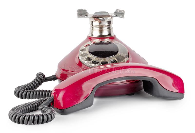 Red old telephone off hook stock photos