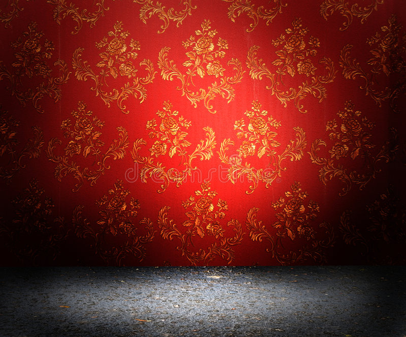 Red old wallpaper. Old red wallpaper texture with flowers on them royalty free stock images