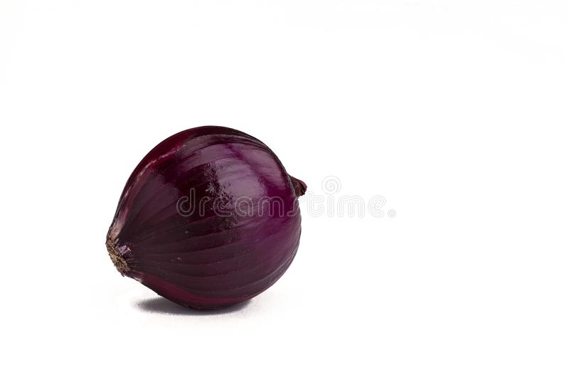 Red onion bulb isolated on white stock images